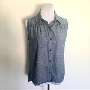 CAbi #387 chambray Sleeveless Button Front Blouse